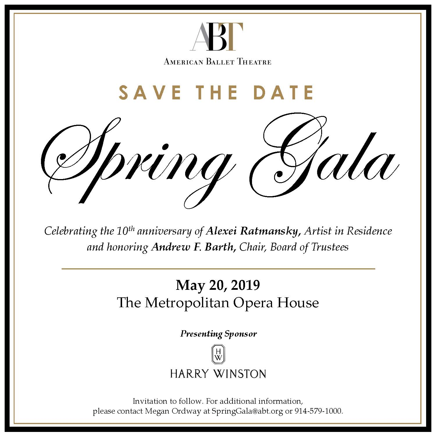 2019 Spring Gala Save the Date